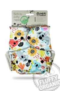 Koala Fluffy Organic Maxi/Night van Petit Lulu, drukknoopjes