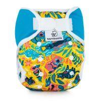 Full print DUO One Size overbroekje Bamboolik Turquoise Australië klittenband