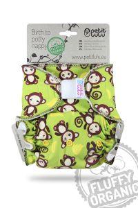 Apenstreken Fluffy Organic One Size luier klittenband Petit Lulu