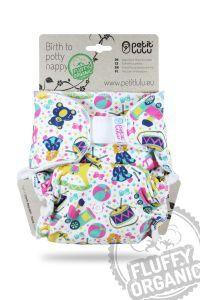 Fluffy Organic Maxi/Night luier Speelparadijs met klittenband van Petit Lulu
