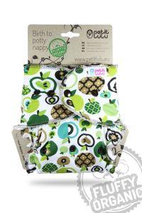 Appels Fluffy Organic Maxi/Night luier Petit Lulu drukknoopjes