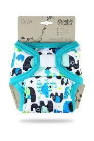Olifantjes Blauw overbroekje klittenband Petit Lulu