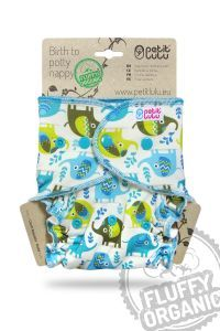 Olifanten Fluffy Organic One Size luier drukknoopjes Petit Lulu